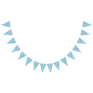 Simple Monogram with Blue Checkerboard Bunting