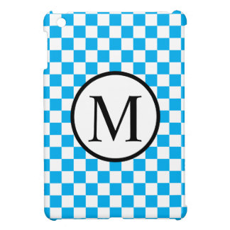 Simple Monogram with Blue Checkerboard Case For The iPad Mini