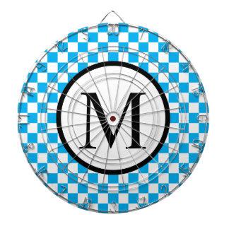 Simple Monogram with Blue Checkerboard Dartboard