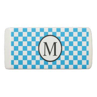 Simple Monogram with Blue Checkerboard Eraser
