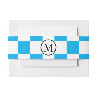 Simple Monogram with Blue Checkerboard Invitation Belly Band