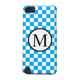 Simple Monogram with Blue Checkerboard iPod Touch (5th Generation) Cover