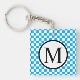 Simple Monogram with Blue Checkerboard Key Ring