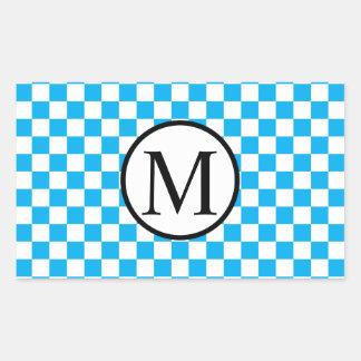Simple Monogram with Blue Checkerboard Rectangular Sticker