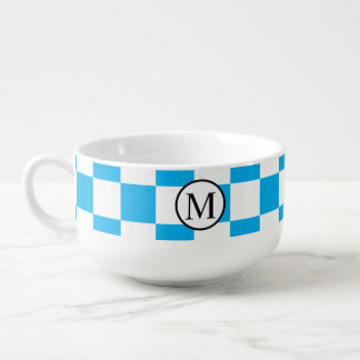 Simple Monogram with Blue Checkerboard Soup Mug