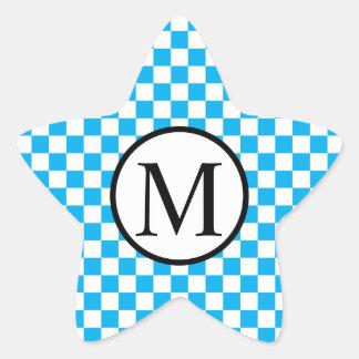 Simple Monogram with Blue Checkerboard Star Sticker
