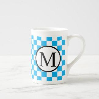 Simple Monogram with Blue Checkerboard Tea Cup