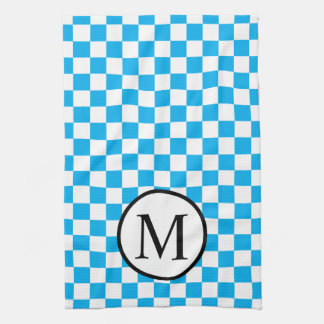 Simple Monogram with Blue Checkerboard Tea Towel