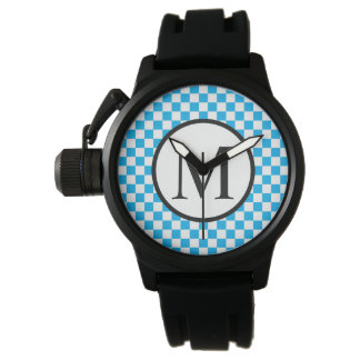 Simple Monogram with Blue Checkerboard Watch