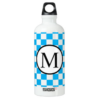 Simple Monogram with Blue Checkerboard Water Bottle