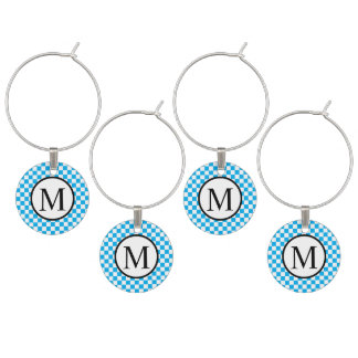 Simple Monogram with Blue Checkerboard Wine Charm