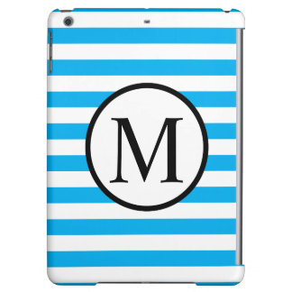 Simple Monogram with Blue Horizontal Stripes