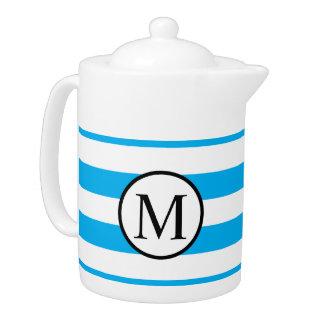 Simple Monogram with Blue Horizontal Stripes
