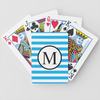 Simple Monogram with Blue Horizontal Stripes Bicycle Playing Cards