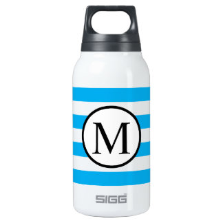 Simple Monogram with Blue Horizontal Stripes Insulated Water Bottle