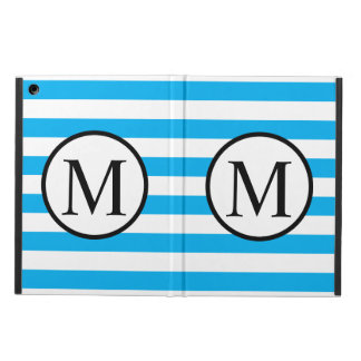 Simple Monogram with Blue Horizontal Stripes iPad Air Cover