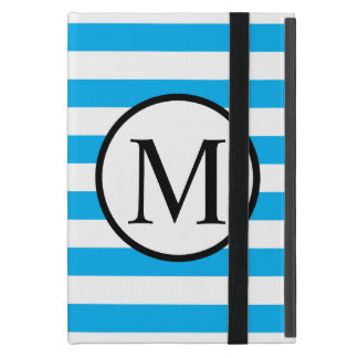 Simple Monogram with Blue Horizontal Stripes iPad Mini Cover