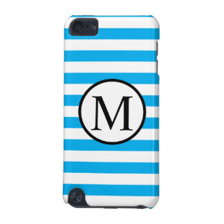 Simple Monogram with Blue Horizontal Stripes iPod Touch (5th Generation) Cases