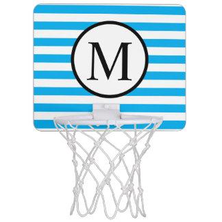 Simple Monogram with Blue Horizontal Stripes Mini Basketball Hoop