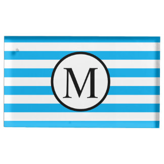 Simple Monogram with Blue Horizontal Stripes Place Card Holder