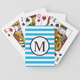 Simple Monogram with Blue Horizontal Stripes Playing Cards