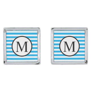 Simple Monogram with Blue Horizontal Stripes Silver Finish Cufflinks