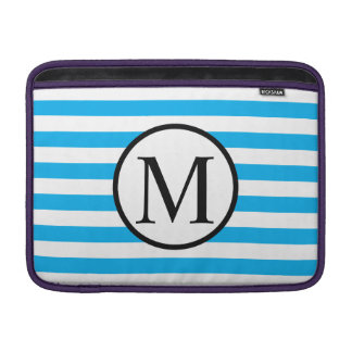 Simple Monogram with Blue Horizontal Stripes Sleeve For MacBook Air
