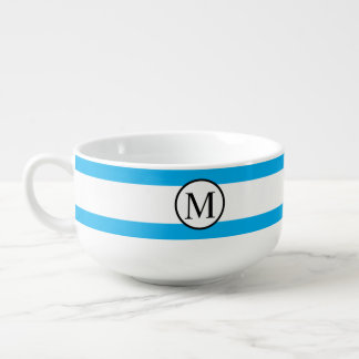 Simple Monogram with Blue Horizontal Stripes Soup Mug