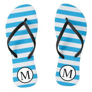 Simple Monogram with Blue Horizontal Stripes Thongs