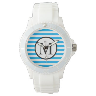 Simple Monogram with Blue Horizontal Stripes Watch