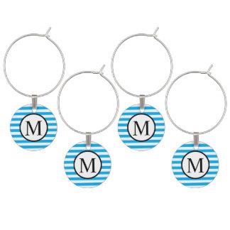 Simple Monogram with Blue Horizontal Stripes Wine Charm
