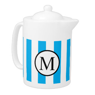 Simple Monogram with Blue Vertical Stripes