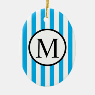 Simple Monogram with Blue Vertical Stripes Ceramic Ornament