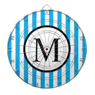 Simple Monogram with Blue Vertical Stripes Dartboards