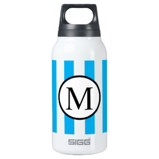 Simple Monogram with Blue Vertical Stripes Insulated Water Bottle