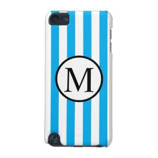 Simple Monogram with Blue Vertical Stripes iPod Touch (5th Generation) Cover