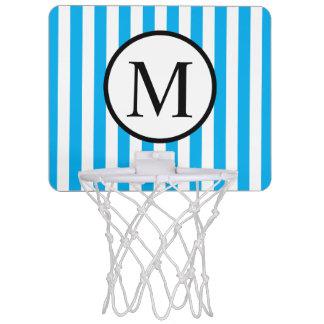Simple Monogram with Blue Vertical Stripes Mini Basketball Hoop