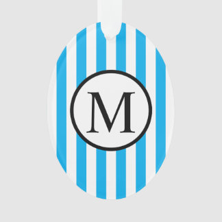 Simple Monogram with Blue Vertical Stripes Ornament