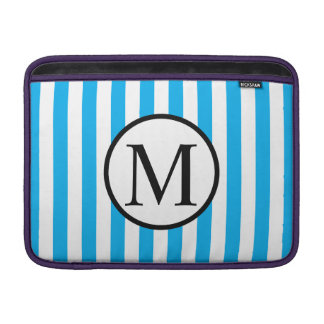 Simple Monogram with Blue Vertical Stripes Sleeve For MacBook Air