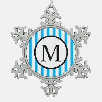 Simple Monogram with Blue Vertical Stripes Snowflake Pewter Christmas Ornament