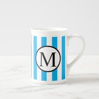 Simple Monogram with Blue Vertical Stripes Tea Cup