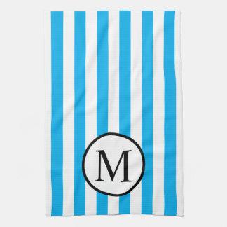Simple Monogram with Blue Vertical Stripes Tea Towel