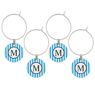 Simple Monogram with Blue Vertical Stripes Wine Charm