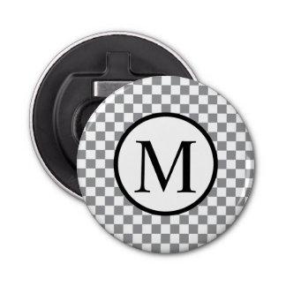 Simple Monogram with Grey Checkerboard Bottle Opener