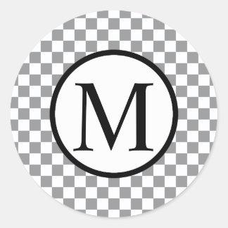 Simple Monogram with Grey Checkerboard Classic Round Sticker
