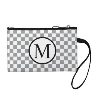 Simple Monogram with Grey Checkerboard Coin Purse