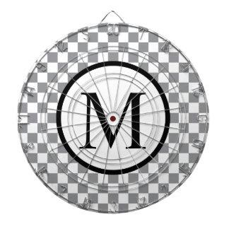 Simple Monogram with Grey Checkerboard Dartboard