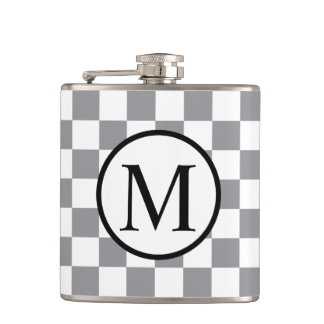 Simple Monogram with Grey Checkerboard Hip Flask