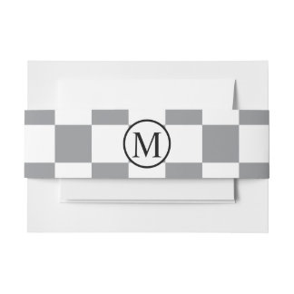 Simple Monogram with Grey Checkerboard Invitation Belly Band