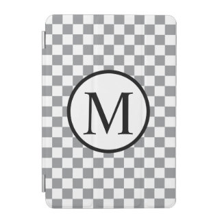 Simple Monogram with Grey Checkerboard iPad Mini Cover